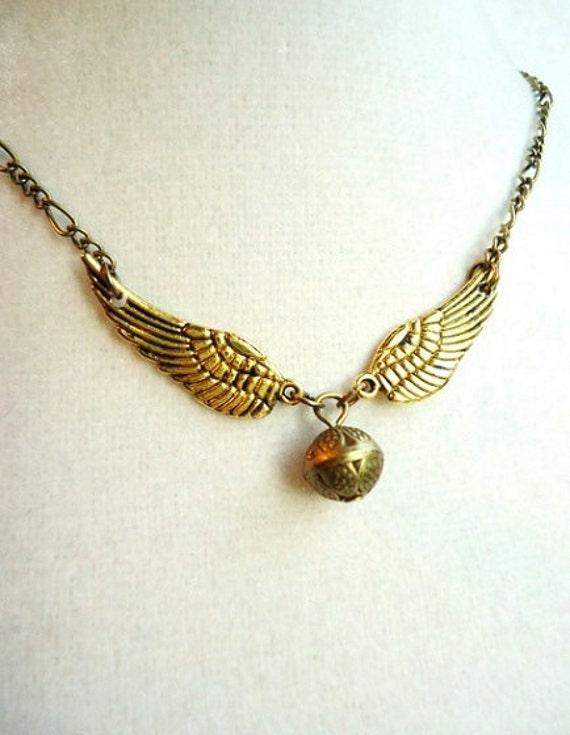 Bronze Orb & Gold Wings Necklace, Nerdy Gifts
