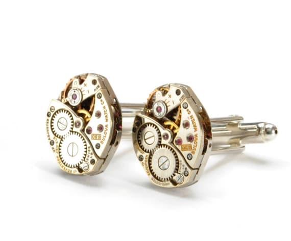 BULOVA Wedding Cuff Links MENS SOLDERED Steampunk Vintage Bulova Watch Cuff Links Silver Wedding Steampunk Jewelry by Victorian Curiosities