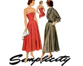 1940s Dress Pattern Simplicity 2817 Bust 30 34 38 Strapless Evening Dress Sundress Wing Collar & Cuffs Bolero Womens Vintage Sewing Patterns