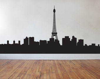 FREE SHIPPING Paris City Skyline Tour Eiffel Tower Wall Decal Custom Size and Color