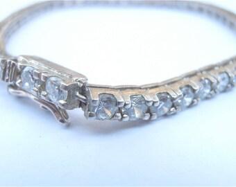Vintage Faux Diamond Tennis Sterling Silver Bracelet Vintage Single Strand White Crystal Clear Channel Setting Crystal Bracelet Classic