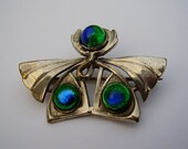 Antique French Art Nouveau Jugendstil Secessionist Silver Plated Piel Frères Freres Peacock Eye Feather Bohemian Foil Glass Brooch Pin