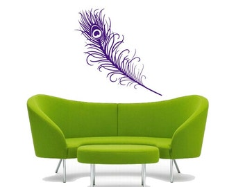 peacock feather vinyl DECAL-wall Art, sticker art, room, home and business decor