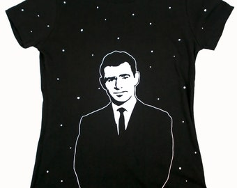 Twilight Zone - Rod Serling Stencil Art Front Back Printed T Shirt