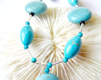 Turquoise Bead Necklace, Turquoise Coin, Turquoise Necklace   ID 284