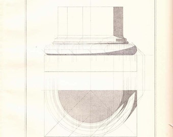 Architectural Print Doric Order by Vignola,  1920s  Engraving