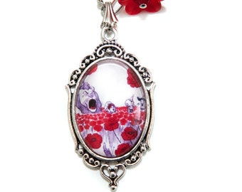 Vintage Wizard of Oz Poppy Flowers Dorothy Book Illustration Silver Necklace