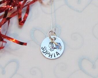 BIRD - Girls Personalized Name  - Swarovski Birthstone  - Birthday Gift for her - gift box included