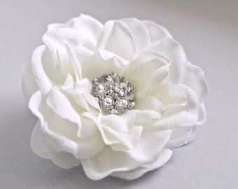 Reserved for jennyedgett - Ivory Flower Hair Clip Fascinator Hairpiece Headpiece Ivory Floral Hair Accessory Clip Gardenia Rhinestones