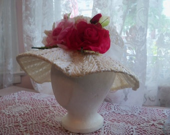 BEAUTIFUL Hat Vintage White Straw with Shabby Chic ROSES on Brim