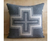 Wool Cross Pillow - Native Geometric Tribal - Pendleton Wool Blanket - Southwest Western