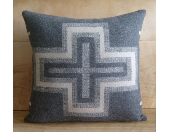 Wool Cross Pillow - Southwest Western Gray