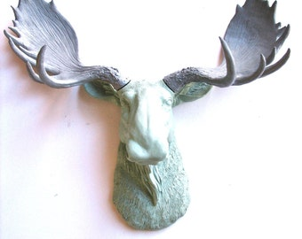 LITE GREY GREEN-Med. Grey Faux Taxidermy Moose Head Wall Hanging: Max the Moose in two different grays (light gray green and medium gray)