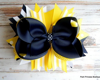 Navy and Yellow Stacked Hair Bow, Boutique Hair Bow, Stacked hair bow, Hair bows for girls, baby, toddler, children