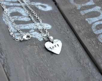 Personalized Hand Hammered Heart Necklace Valentines Day Present