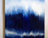 Personalized blue abstract custom painting, large original art on canvas, in indigo, white, ikat, ombre, 24X36