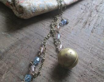 Damsel- Vintage Raw Brass Round Locket, Pastel Swarovski Crystals and Brass Oblate Vintage Chain