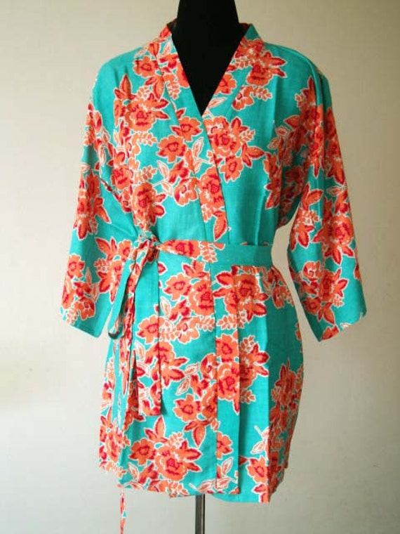 Bridesmaid robe turquoise floral robes for bridal party D52