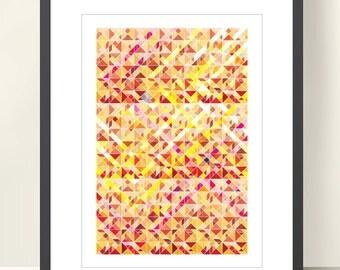 GEOMETRIC ART, Tangram geometric Wall Decor. Abstract Geometric Poster. Illustration Art Print A3. Triangles, Warm Colors