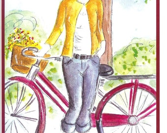 Birthday  bike ride water color card print (Item BD19)