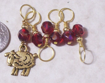 no snag knitting stitch markers, gold plated sheep, set of 6, pewter charms, czech crystal beads, christmas gift