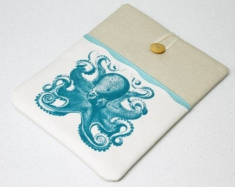 iPad Sleeve , iPad Air case, Case , Nexus 10 Sleeve , Octopus, Tablet Sleeve, Turquoise, iPad cover, iPad case