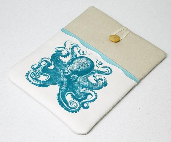 iPad Sleeve , iPad Air case, Case , Nexus 10 Sleeve , Octopus, Tablet Sleeve, Turquoise, iPad cover, iPad case