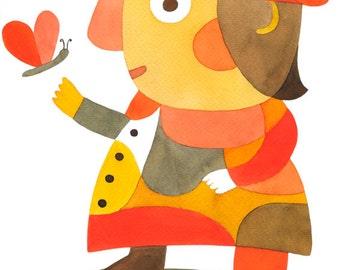 Nursery Art Print -Mister D- Mid Century Modern Art Print Poster Kids Art Print pink yellow red brown orange black 8 x 10