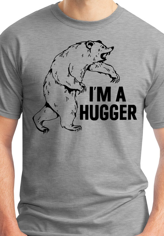 Mens bear t shirt im a hugger grizzly bear like this item publicscrutiny Image collections