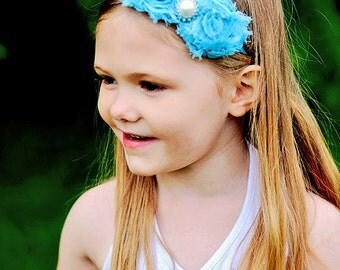 MORE COLORS-Boutique Style-Blue-Shabby Chic Headband- Shabby Headband-Shabby Rosette Headband