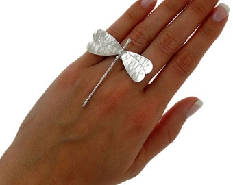 Statement ring, girlfriend gift for women, dragonfly ring, wife gift, sterling silver ring, dragonfly jewelry, chunky ring, big ring