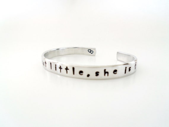 William Shakespeare Though She Be But Little, She is Fierce A Midsummer Night's Dream Hand Stamped Bracelet