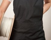 work apron in dark blue cotton adjustable made to order