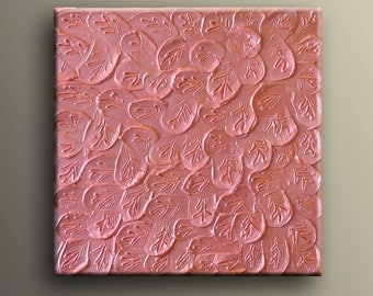 "Minimalist Modern painting Metallic thick Paint  Heavy palette Impasto -Pink Metallic Leaves- By Nick Sag 12"" x 12"""