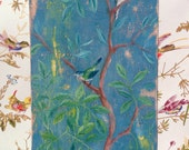 25% OFF Chinoiserie Wall Art, Home Decor, Turquoise Bird Painting