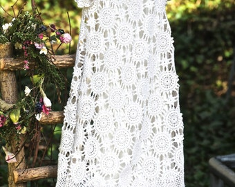 Jenny:  Vintage, repurposed christening/blessing dress for infants made from a hand crocheted tablecloth