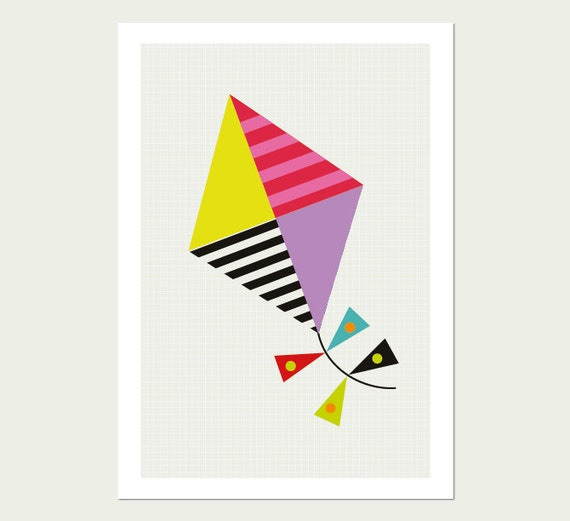 Kite Kids Wall Art , Nursery Decor and Children's Room Art