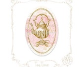 """Teapot, vintage, tea party, stickers, teapot, gold, pink, high tea, shower tea, birthday, large, glossy, oval stickers, 2.5"""" x 1.6"""" set of 6"""