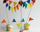 CIrcus Cake Topper for  Rainbow Birthday, Red and White Valentine, Yellow Easter, White and Blue Wedding, Orange Holloween - Cake Decoration