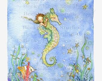XL Mermaid Art, Mermaid Print, Mermaid Illustration, Girls Room Print, Under the Sea,  Gift for her