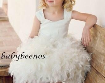 Flower Girl Dress -  Feather Flower Girl Dress - Corset back Flower girl dress - Lily - Made to Order - 12m, 18m, 24m,  2t, 3t, 4t