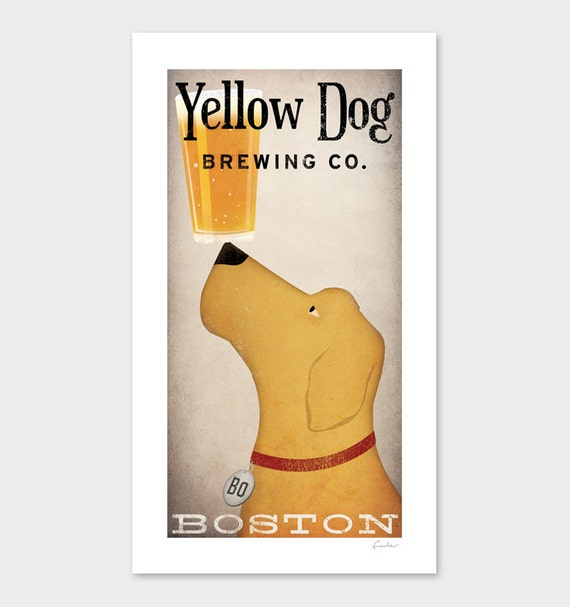 CUSTOM Personalized Yellow Dog Brewing Company graphic art illustration GICLEE PRINT  Signed