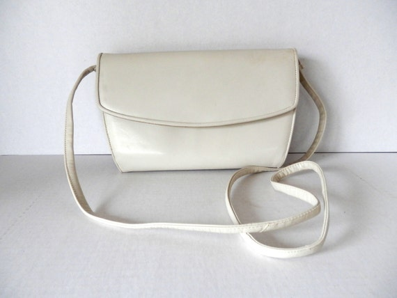 Frenchy of California Cross Body Bag // Small Bone White Leather