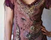 Ropedancer-  embroidered and beaded textile art collage shirt