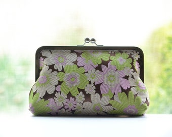 Silk Flowers Clutch Wedding Bridesmaid Gifts Bridal Purse Bag by Lolis Creations