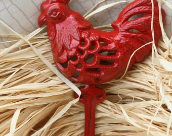 Rooster Wall Hook, Cast Iron, Hand Painted in Red, Distressed, Country French Kitchen, Hanging Hardware Included