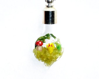 Garden Jewelry, Miniature World, Glass Pendant Necklace, Miniature Fairy Garden, Terrarium Pendant Necklace, Glass Jewelry