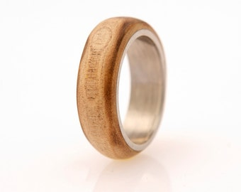 titanium ring Man Ring with guava wood from my garden wooden ring
