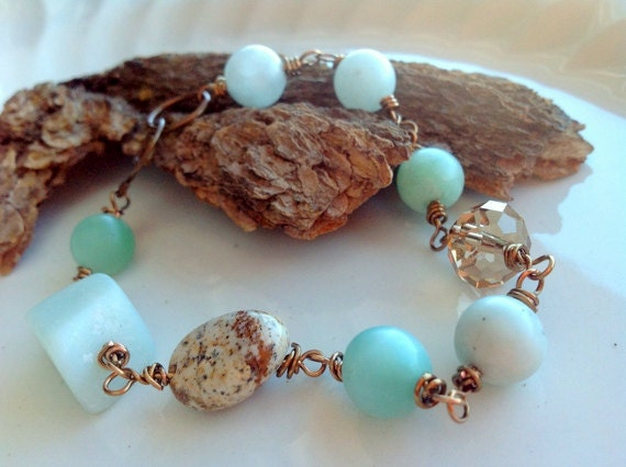 Mint Green And Brown Bracelet Bridesmaid Rustic Weding Boho