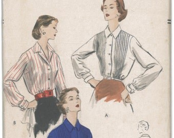 7807 UNCUT 1950's VOGUE Women's Blouse Sewing Pattern Vogue 7807 Bust 36
